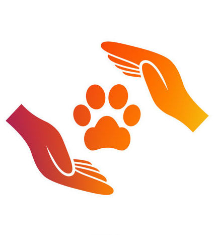 Two hands with a paw print in the middle; animal protection sign